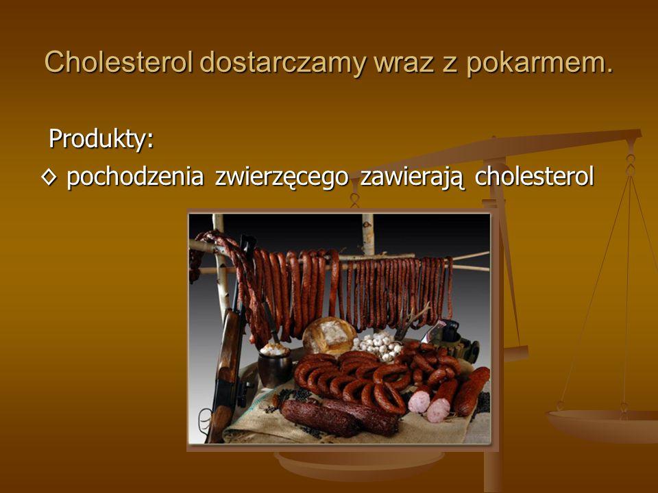Cholesterol dostarczamy wraz z pokarmem.