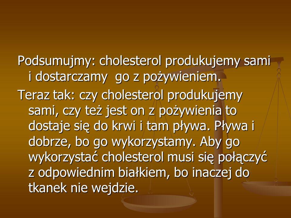 Podsumujmy: cholesterol produkujemy sami i dostarczamy go z pożywieniem.
