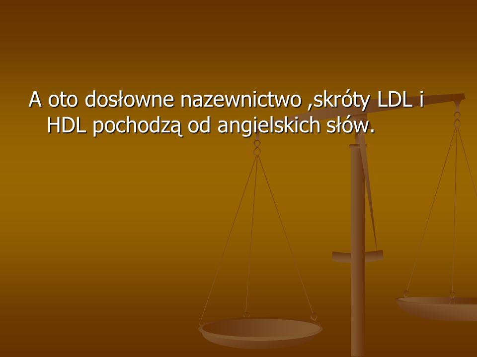 A oto dosłowne nazewnictwo ,skróty LDL i HDL pochodzą od angielskich słów.