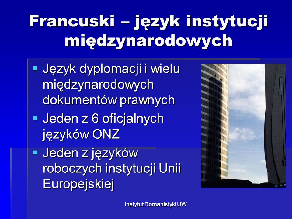 Francuski – język instytucji międzynarodowych