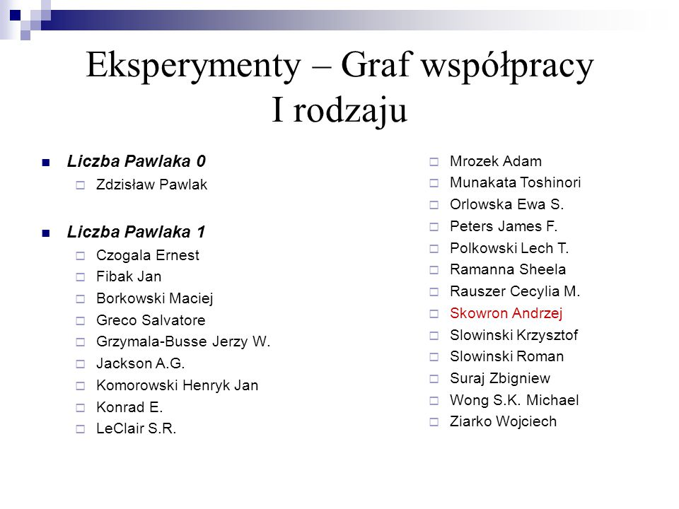 Eksperymenty – Graf współpracy I rodzaju