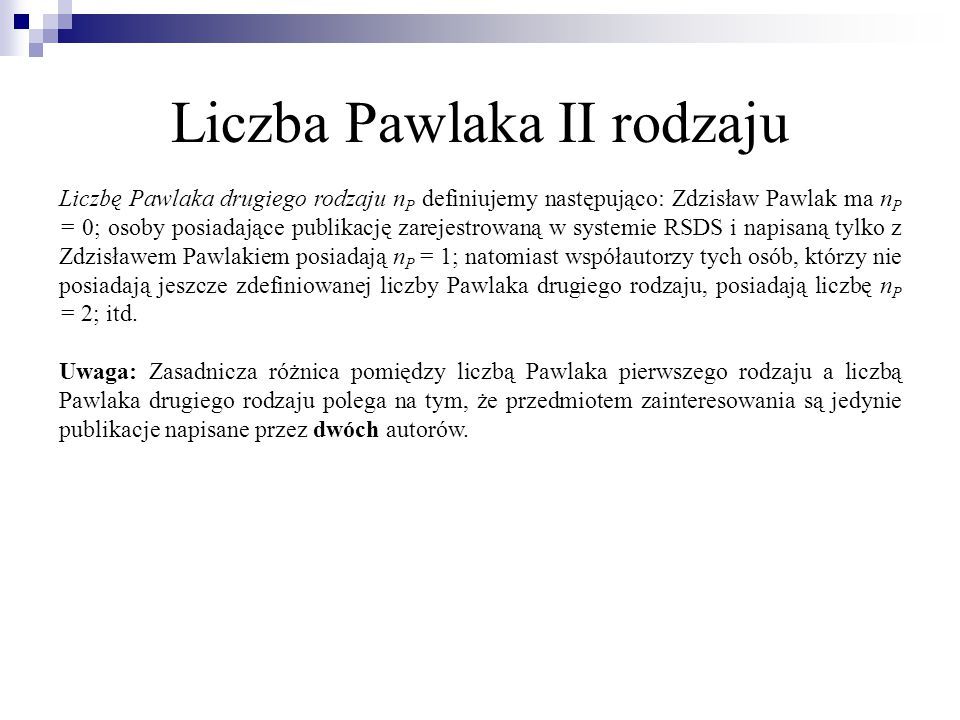Liczba Pawlaka II rodzaju