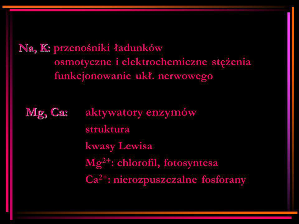 Mg, Ca: aktywatory enzymów