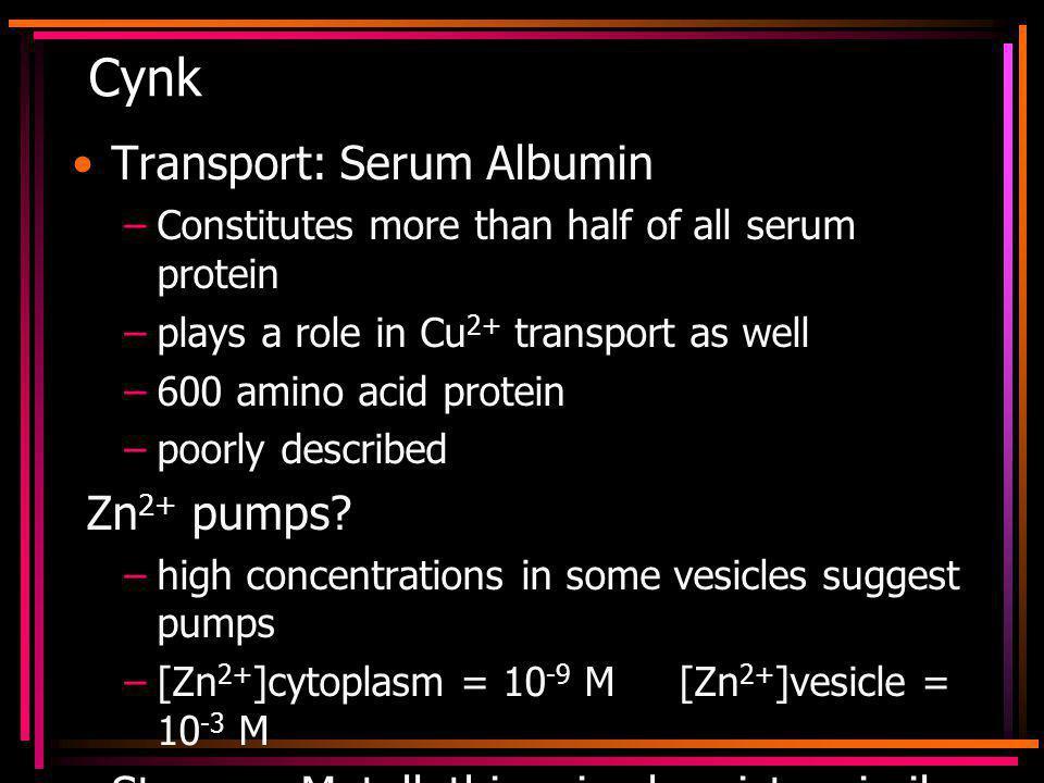 Cynk Transport: Serum Albumin Zn2+ pumps