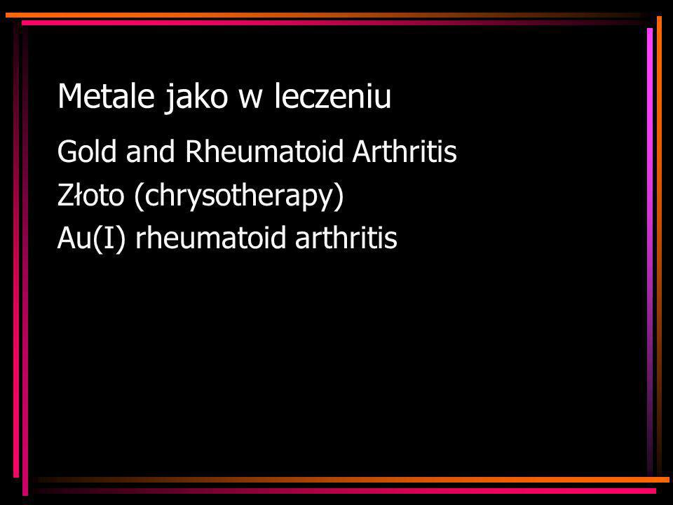 Metale jako w leczeniu Gold and Rheumatoid Arthritis