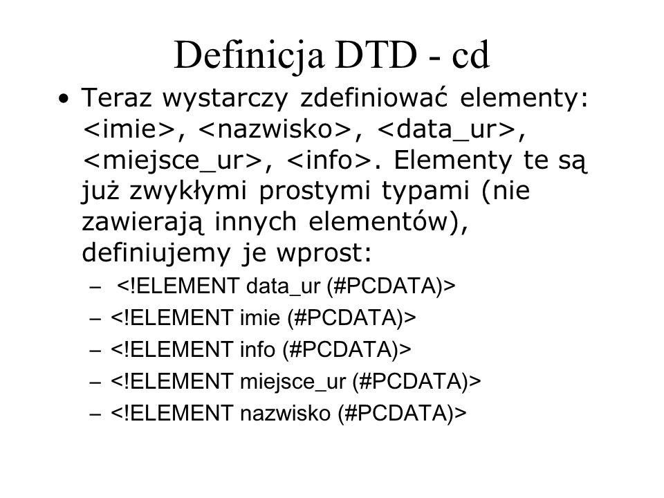Definicja DTD - cd