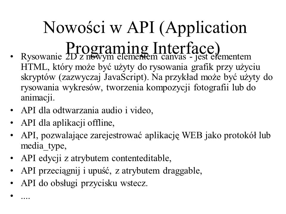 Nowości w API (Application Programing Interface)