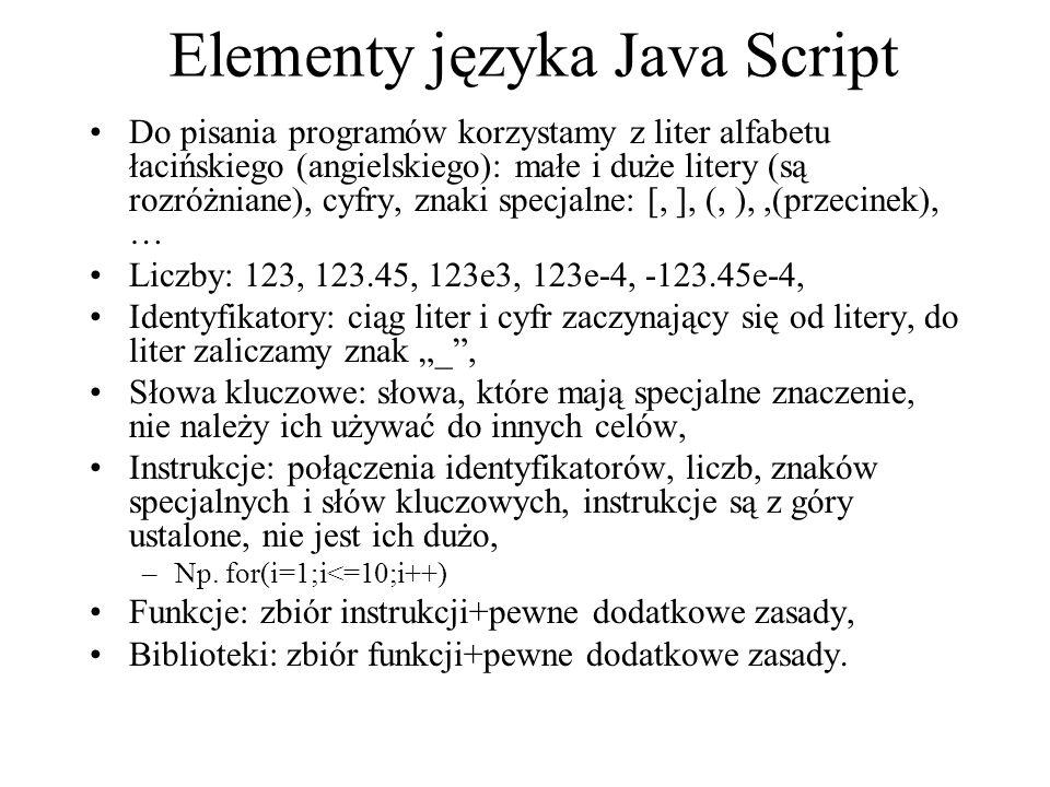 Elementy języka Java Script