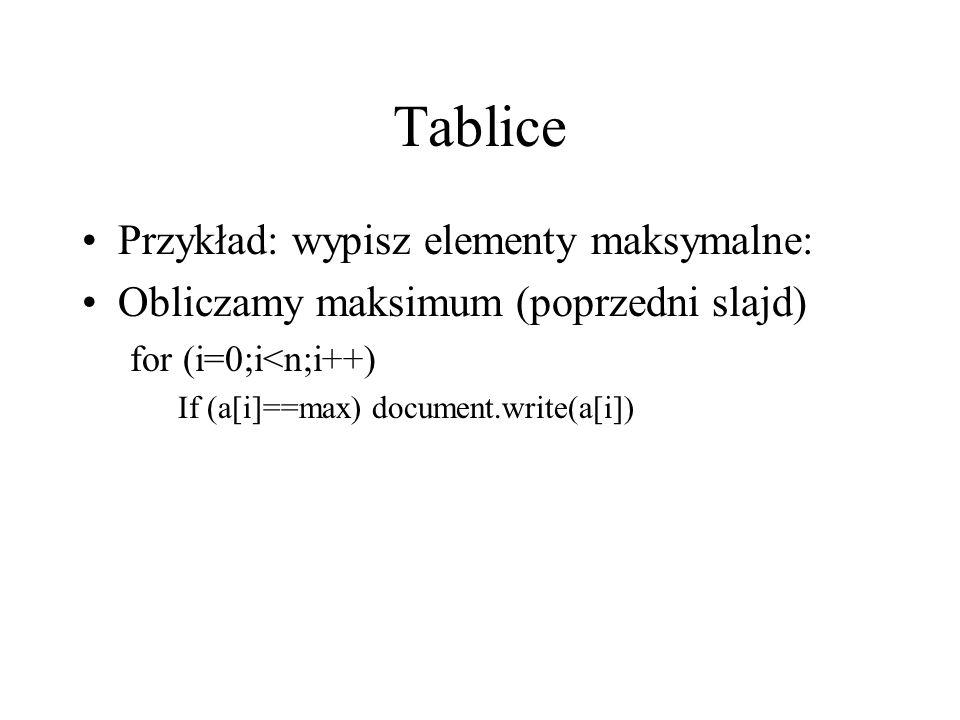 Tablice Przykład: wypisz elementy maksymalne: