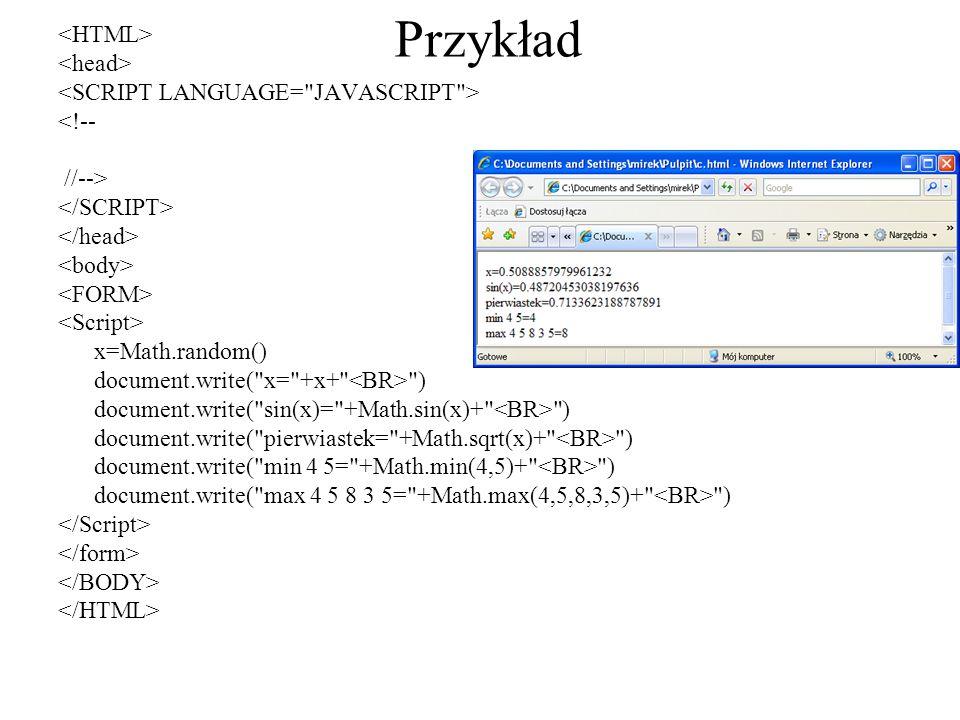Przykład <HTML> <head>