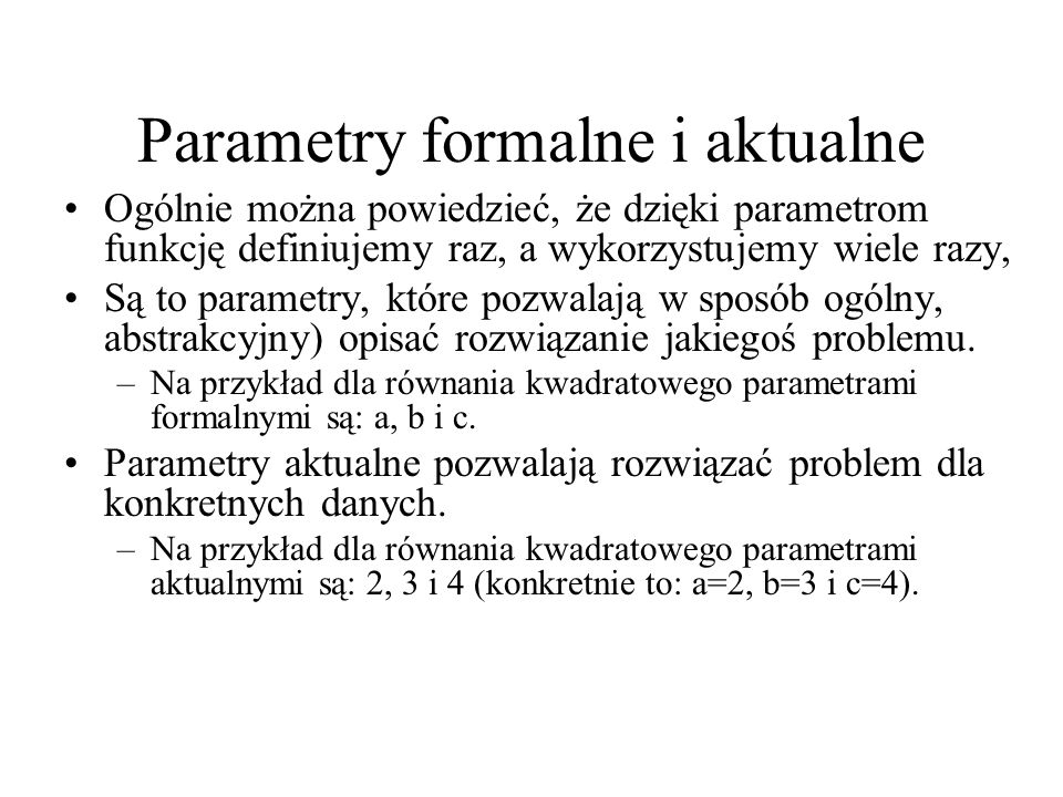Parametry formalne i aktualne