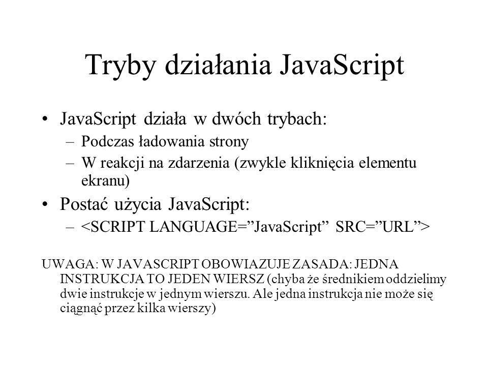 Tryby działania JavaScript
