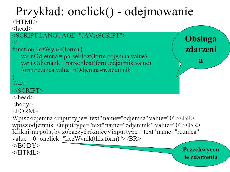 Przykład: onclick() - odejmowanie