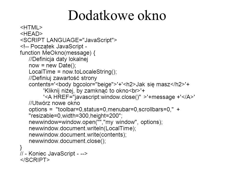 Dodatkowe okno <HTML> <HEAD>
