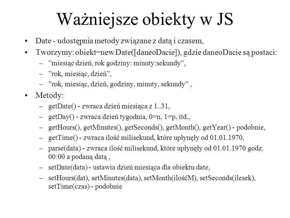 Ważniejsze obiekty w JS