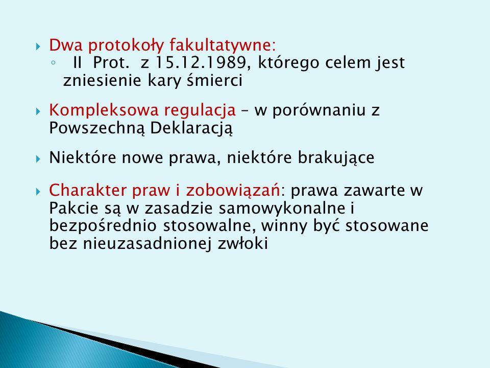 Dwa protokoły fakultatywne: