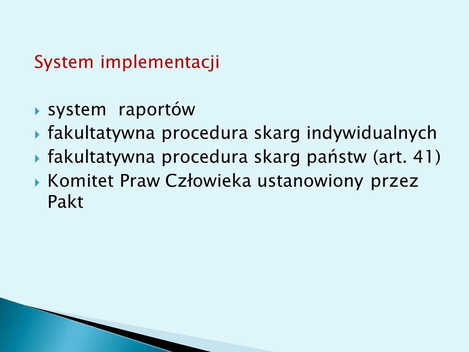 System implementacji system raportów. fakultatywna procedura skarg indywidualnych. fakultatywna procedura skarg państw (art. 41)