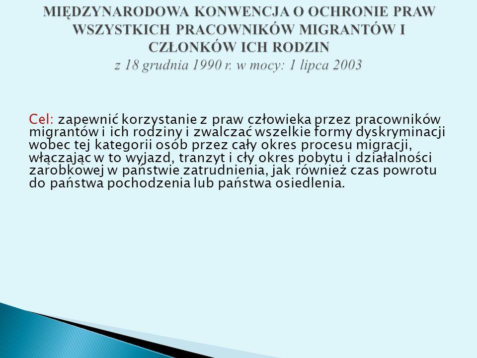 MIĘDZYNARODOWA KONWENCJA O OCHRONIE PRAW WSZYSTKICH PRACOWNIKÓW MIGRANTÓW I CZŁONKÓW ICH RODZIN z 18 grudnia 1990 r. w mocy: 1 lipca 2003