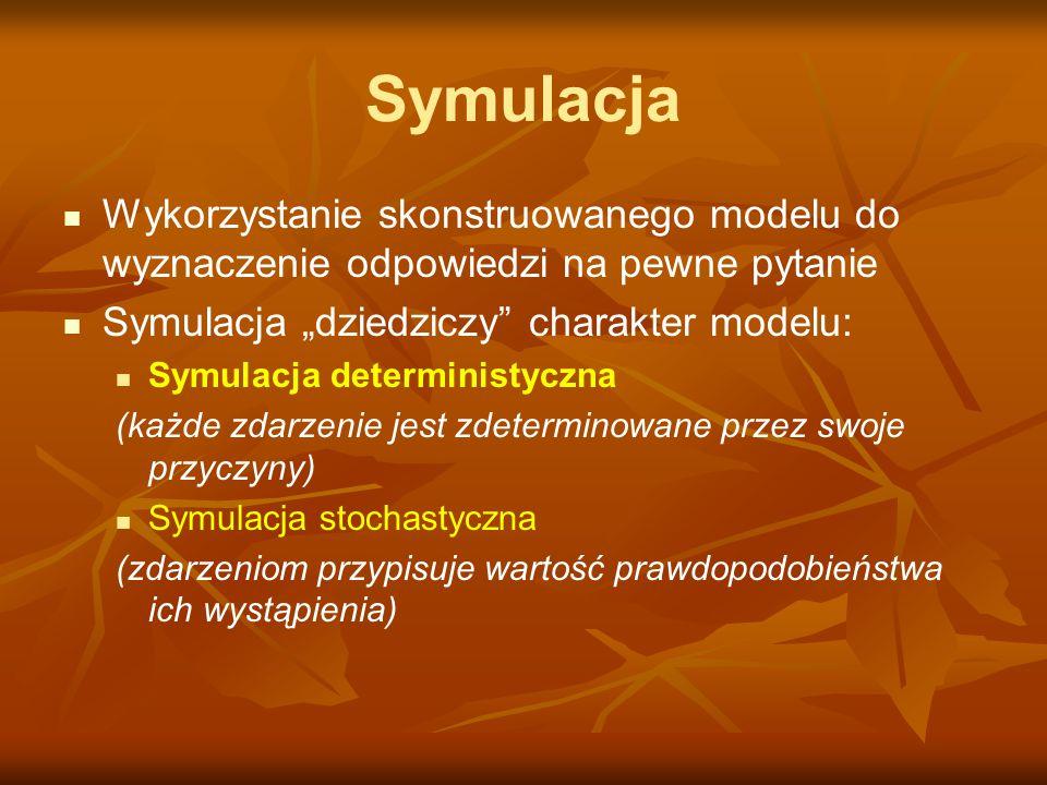 """Symulacja Wykorzystanie skonstruowanego modelu do wyznaczenie odpowiedzi na pewne pytanie. Symulacja """"dziedziczy charakter modelu:"""