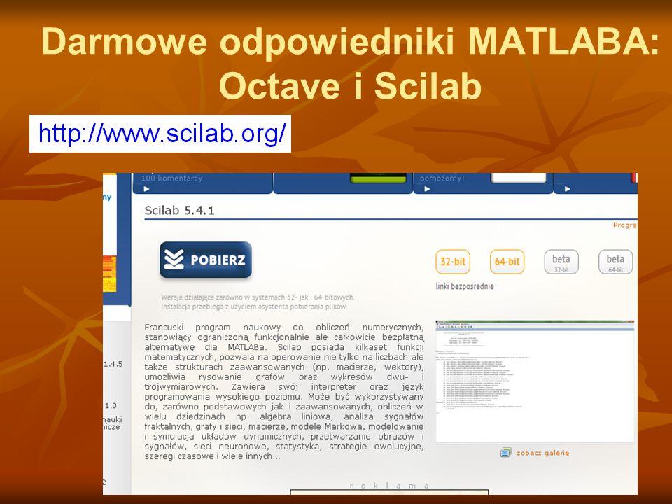 Darmowe odpowiedniki MATLABA: Octave i Scilab