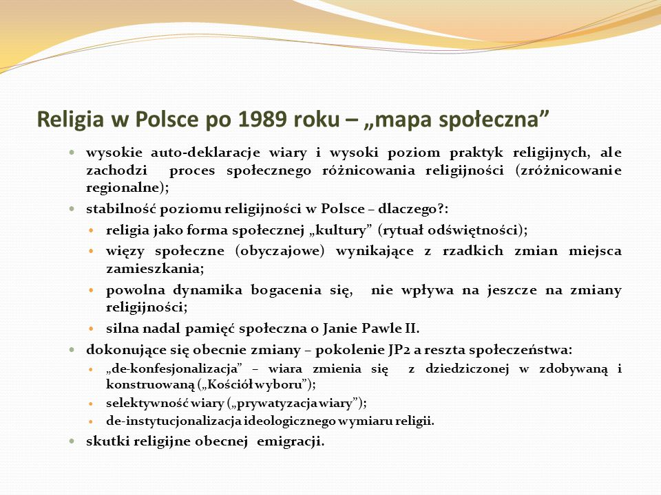 """Religia w Polsce po 1989 roku – """"mapa społeczna"""
