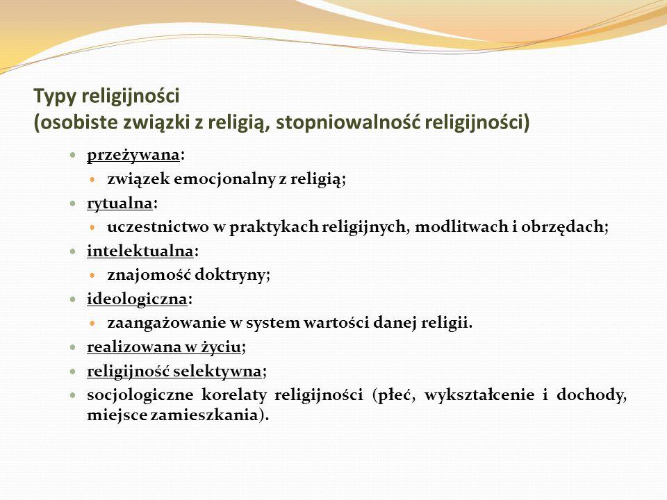 związek emocjonalny z religią; rytualna: