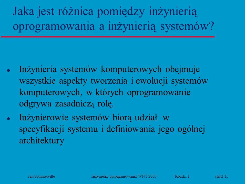 Ian Sommerville Inżynieria oprogramowania WNT 2003 Rozdz. 1 slajd 11