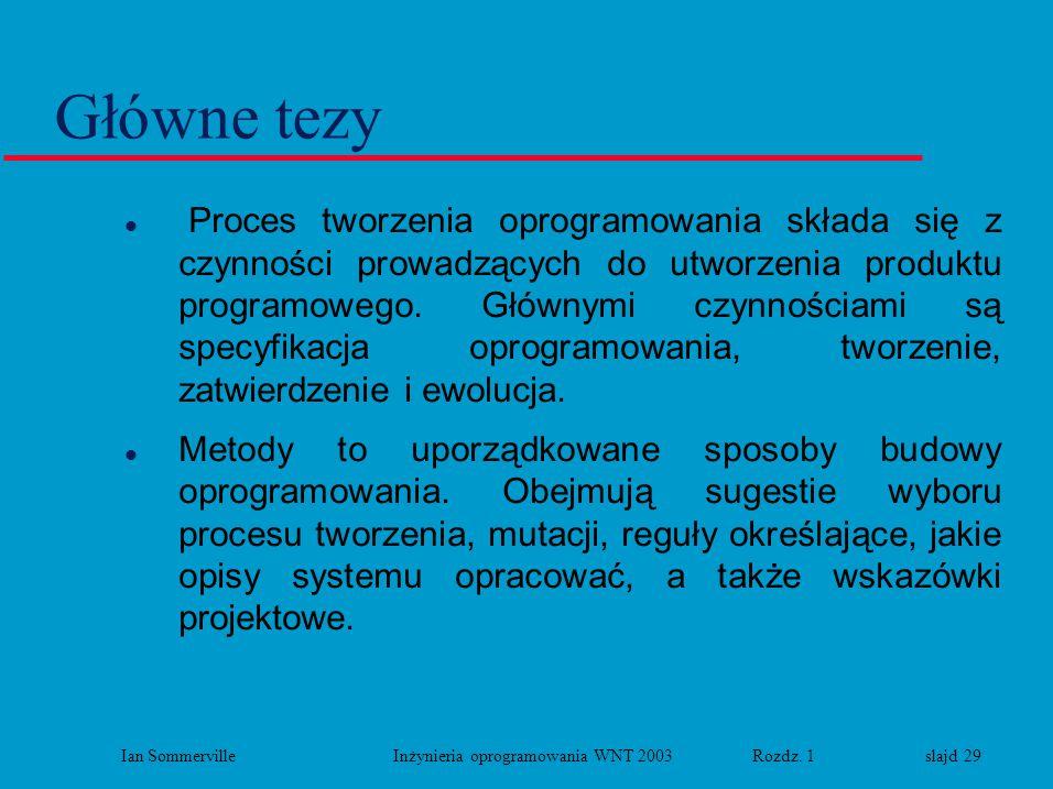Ian Sommerville Inżynieria oprogramowania WNT 2003 Rozdz. 1 slajd 29