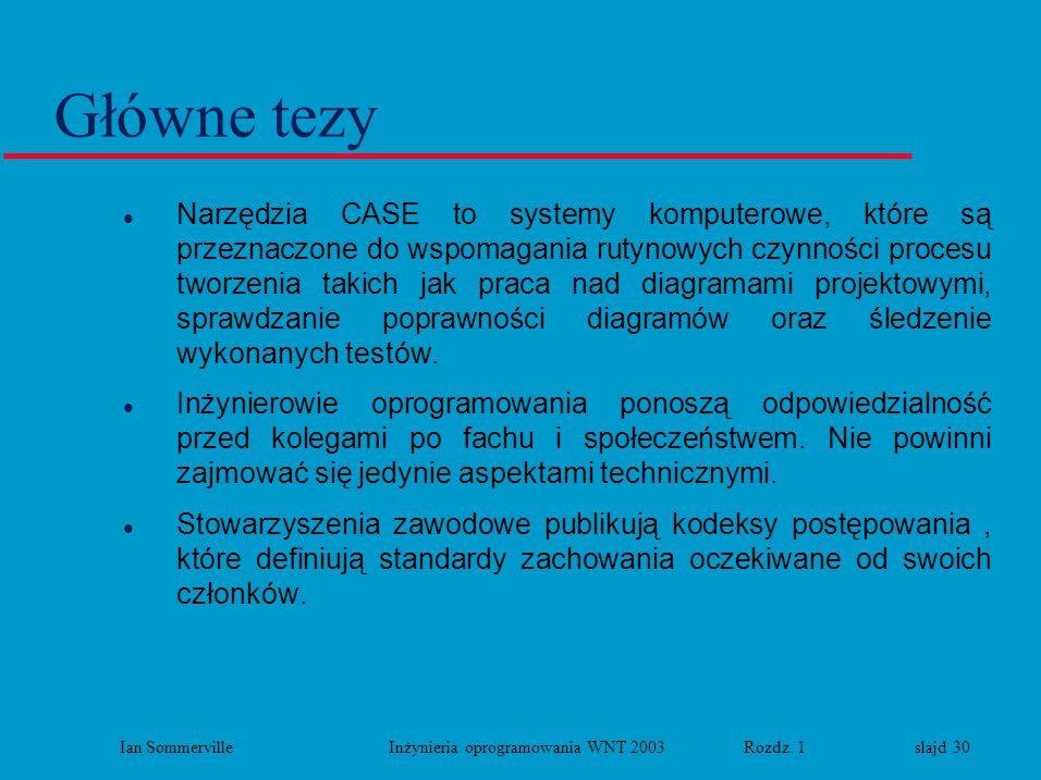 Ian Sommerville Inżynieria oprogramowania WNT 2003 Rozdz. 1 slajd 30