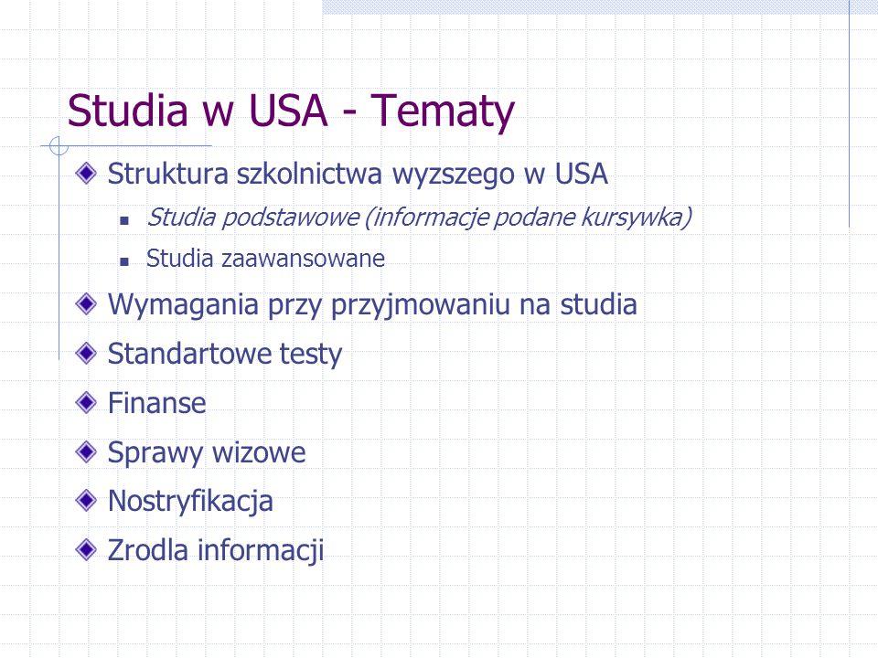 Studia w USA - Tematy Struktura szkolnictwa wyzszego w USA