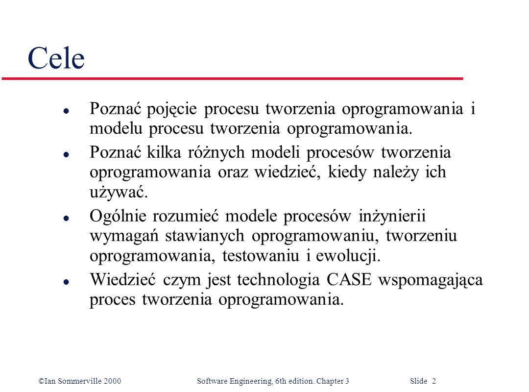 Cele Poznać pojęcie procesu tworzenia oprogramowania i modelu procesu tworzenia oprogramowania.