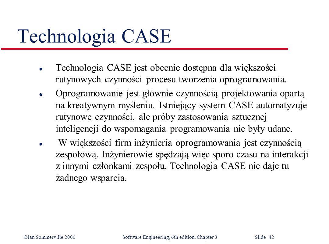 Technologia CASE Technologia CASE jest obecnie dostępna dla większości rutynowych czynności procesu tworzenia oprogramowania.