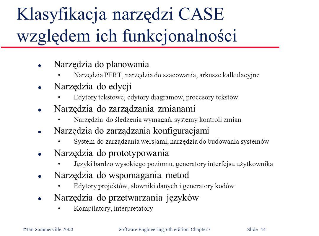 Klasyfikacja narzędzi CASE względem ich funkcjonalności