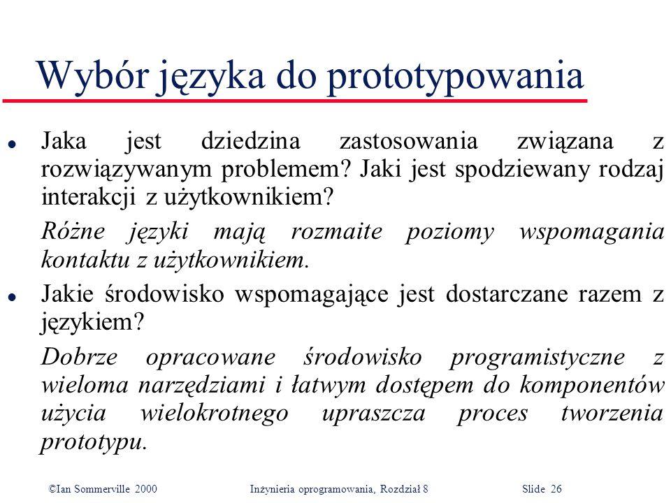 Wybór języka do prototypowania