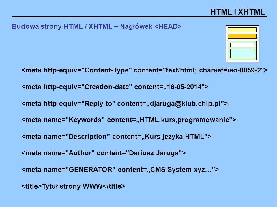 Budowa strony HTML / XHTML – Nagłówek <HEAD>