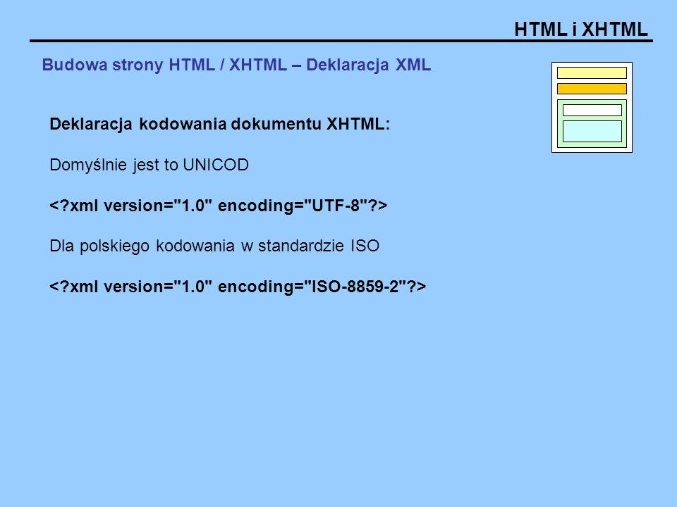 Budowa strony HTML / XHTML – Deklaracja XML