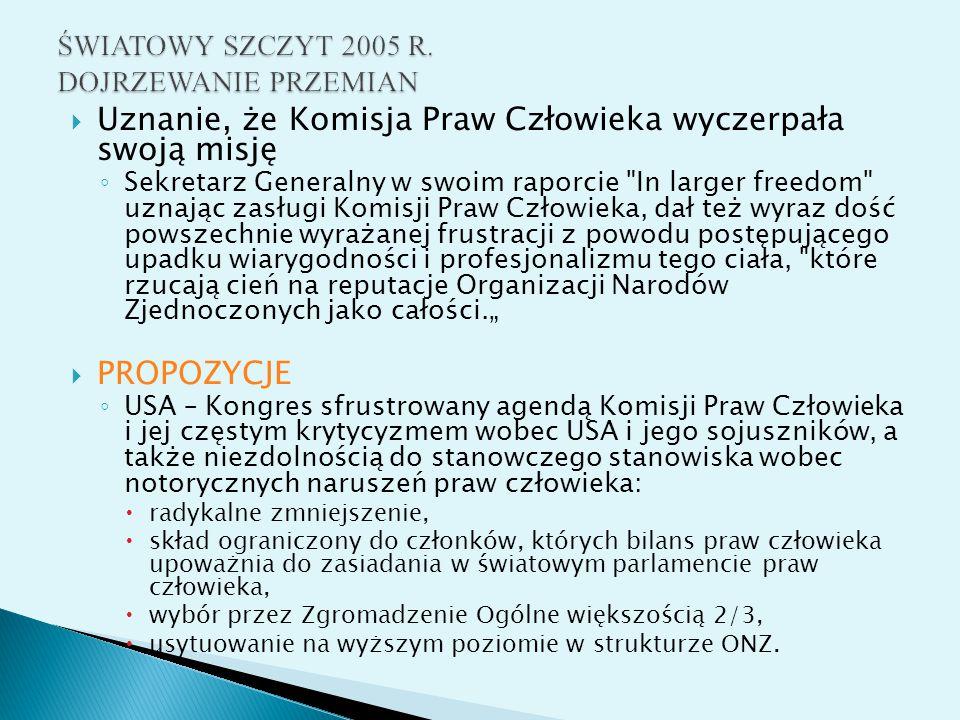 ŚWIATOWY SZCZYT 2005 R. DOJRZEWANIE PRZEMIAN