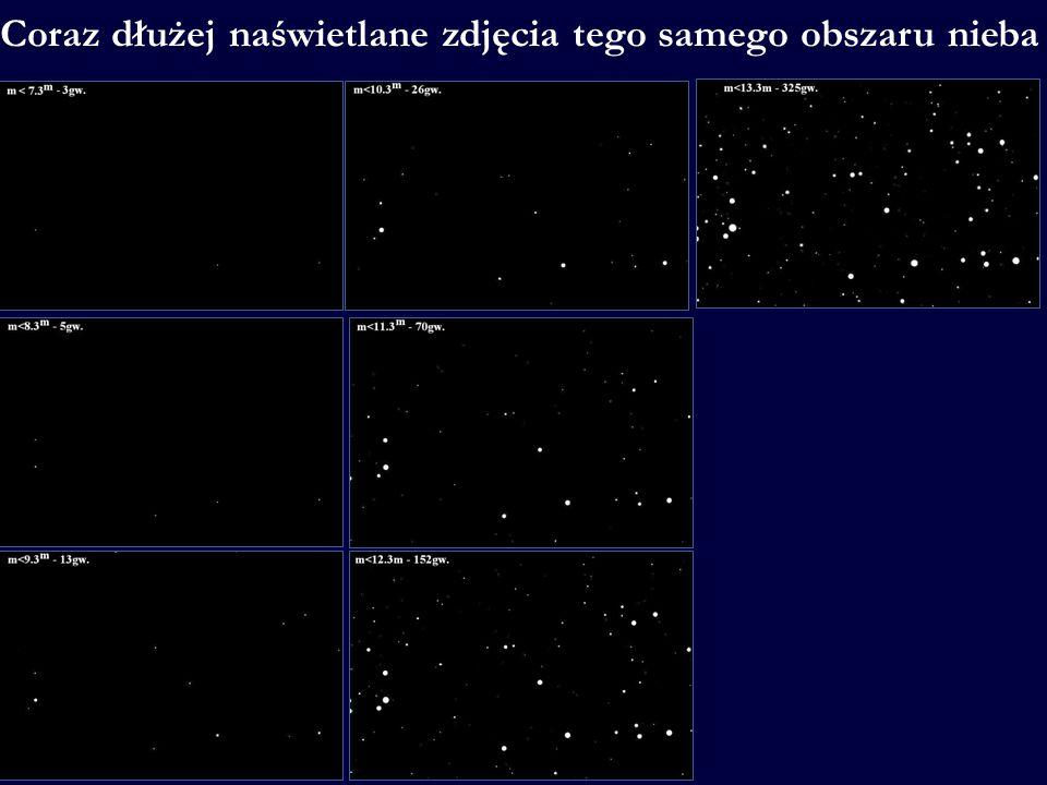 Coraz dłużej naświetlane zdjęcia tego samego obszaru nieba