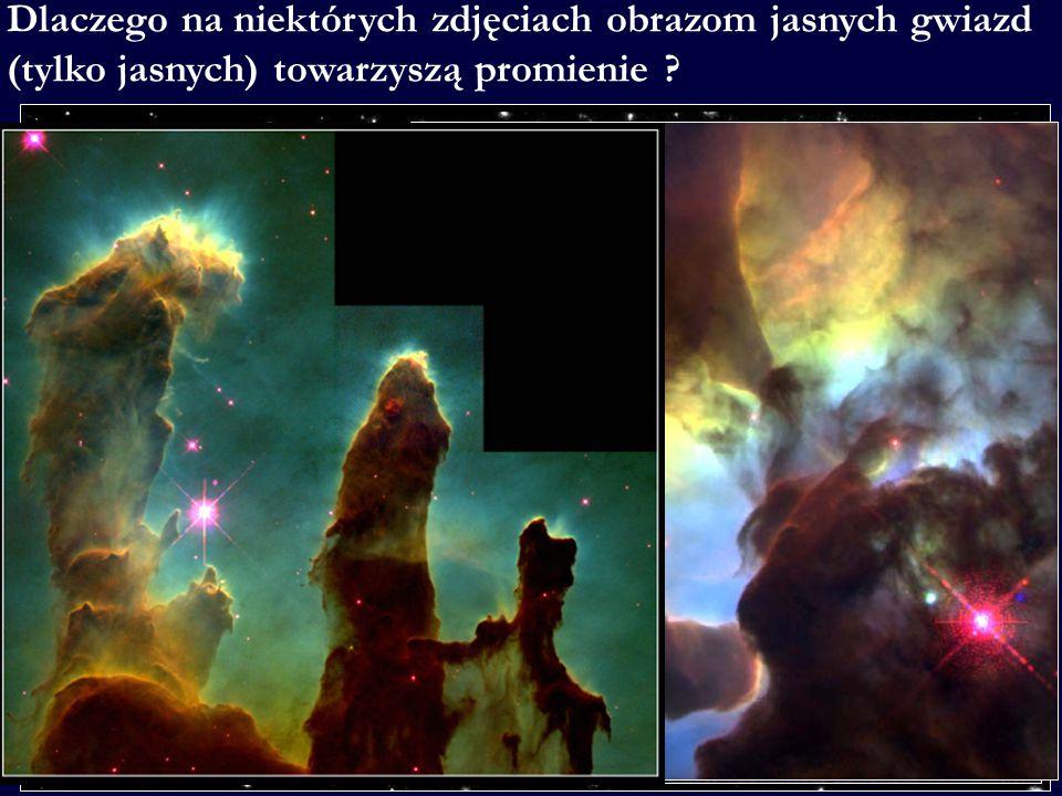 Dlaczego na niektórych zdjęciach obrazom jasnych gwiazd