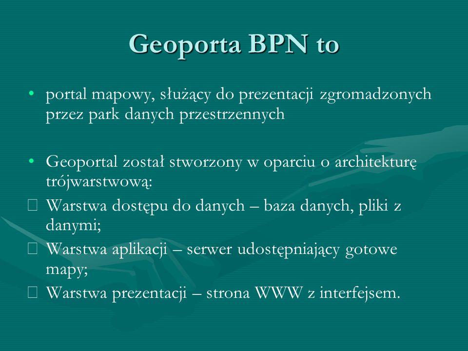 Geoporta BPN to portal mapowy, służący do prezentacji zgromadzonych przez park danych przestrzennych.