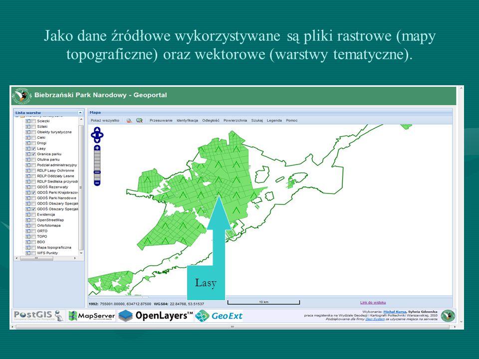 Jako dane źródłowe wykorzystywane są pliki rastrowe (mapy topograficzne) oraz wektorowe (warstwy tematyczne).