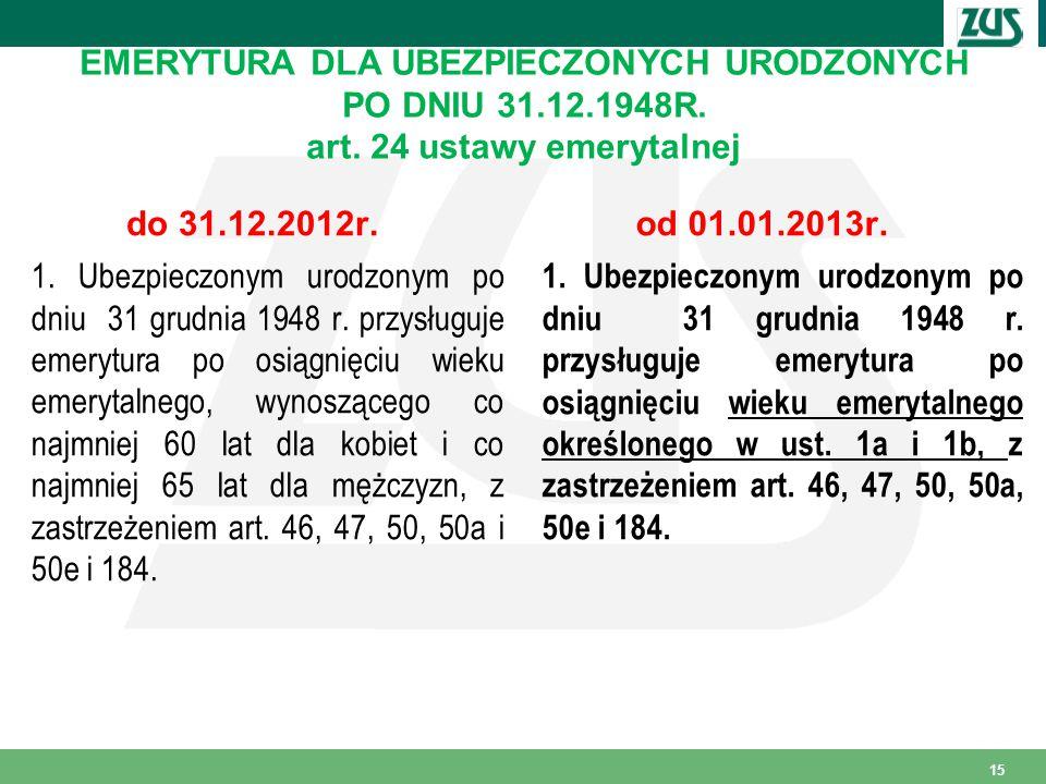 EMERYTURA DLA UBEZPIECZONYCH URODZONYCH PO DNIU 31. 12. 1948R. art