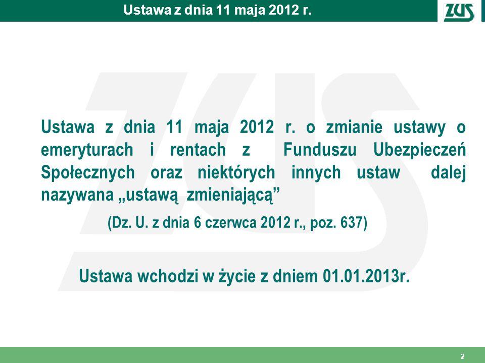Ustawa wchodzi w życie z dniem 01.01.2013r.