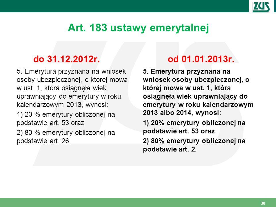 Art. 183 ustawy emerytalnej