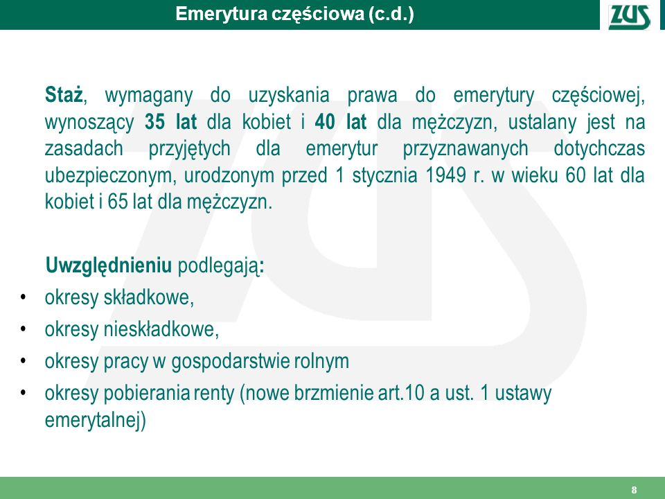 Emerytura częściowa (c.d.)
