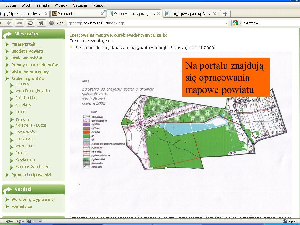 Na portalu znajdują się opracowania mapowe powiatu