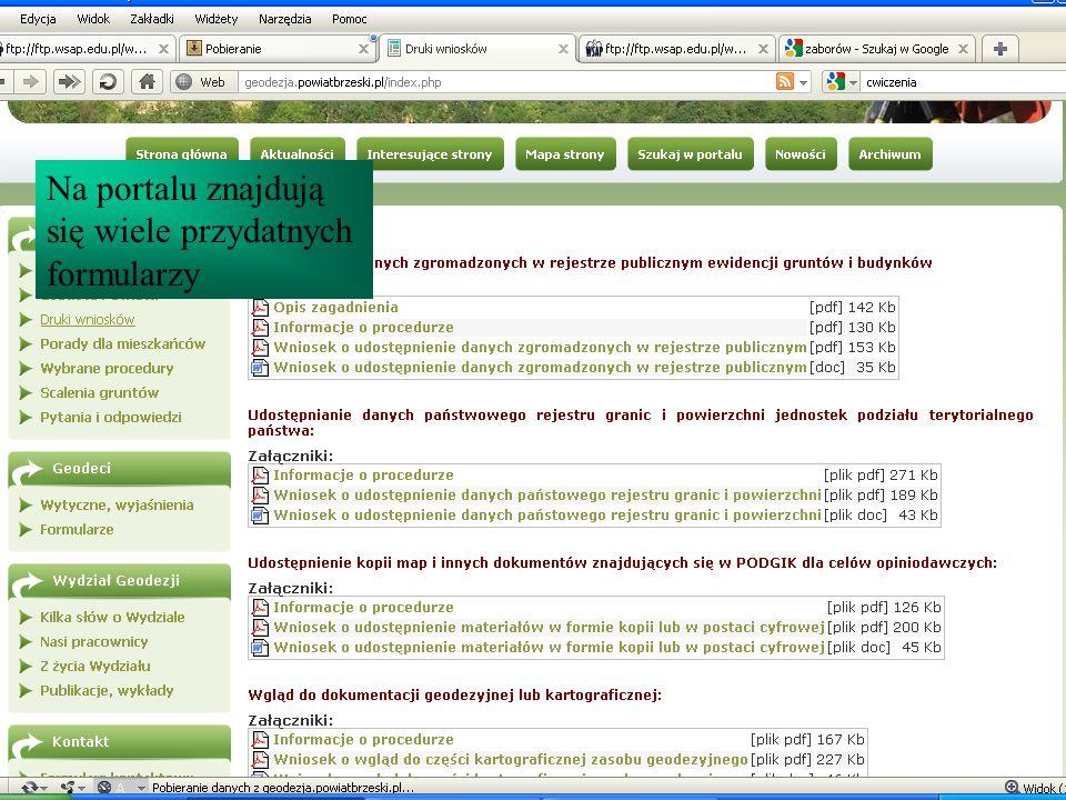Na portalu znajdują się wiele przydatnych formularzy