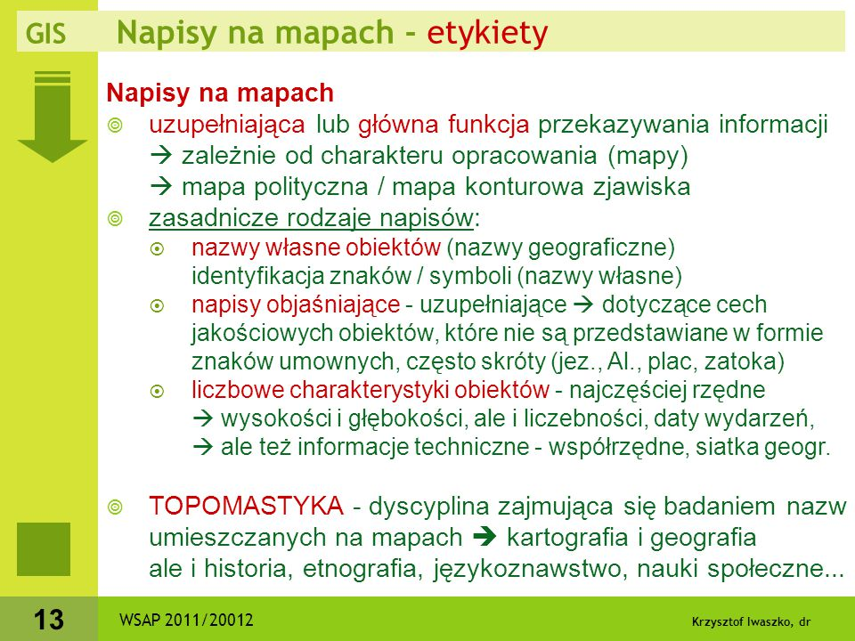 GIS Napisy na mapach - etykiety
