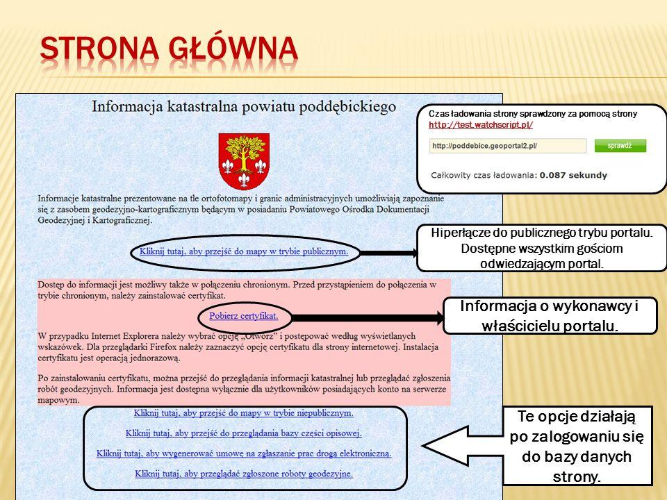 Strona GłóWna Informacja o wykonawcy i właścicielu portalu.