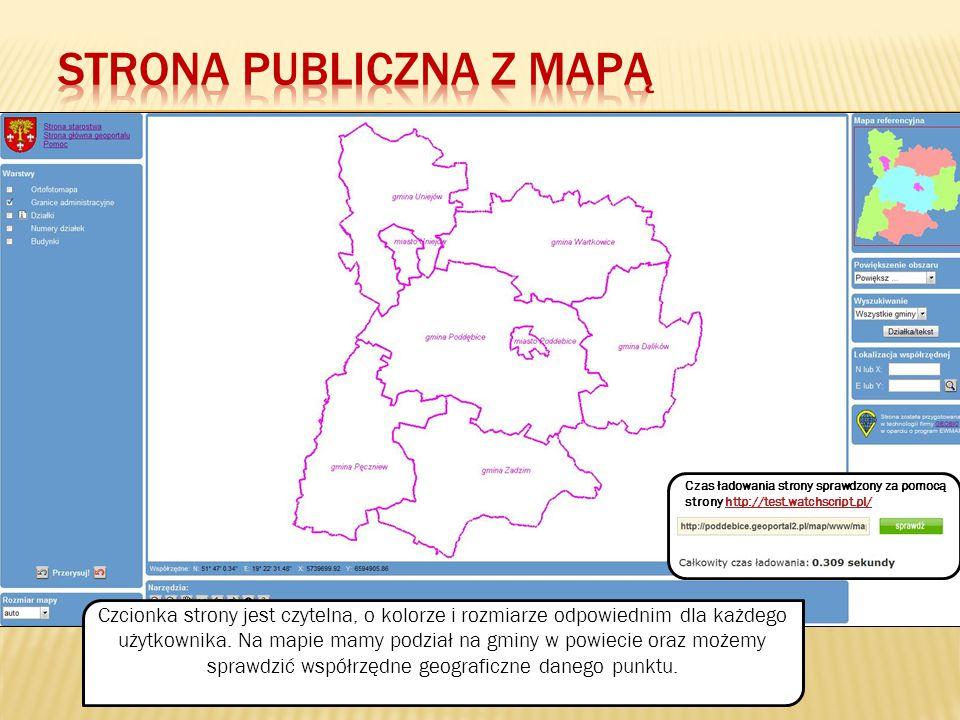 Strona publiczna z mapą